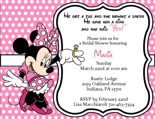 Personalized She Said Yes Minnie Bridal Shower Invitation