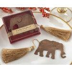 Elephant Metal Bookmark with Elegant Gold Silk Tassel
