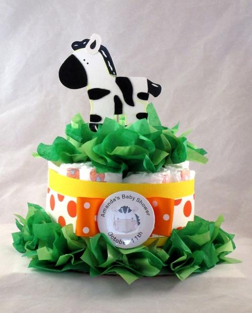 Baby animal diaper cake centerpiece