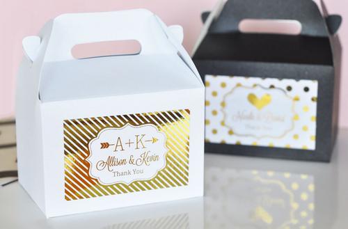 Personalized Metallic Foil Mini Gable Boxes Set Of 12