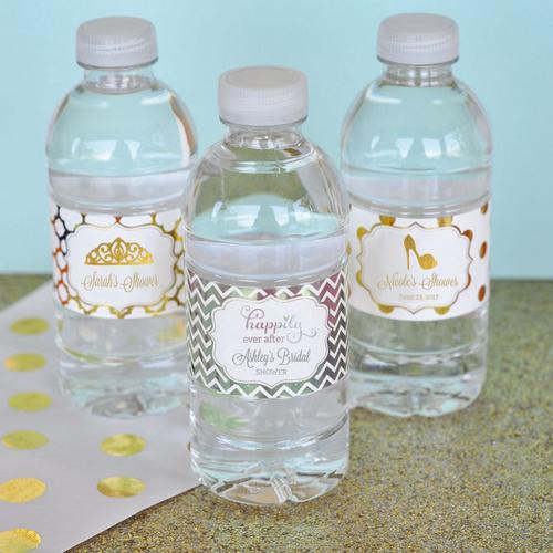 Personalized Cinderella Metallic Foil Water Bottle Labels
