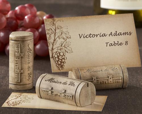 Maison du Vin Wine Cork Place Card Holders Set of 4 - Kitchen Wedding Favors