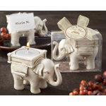 Elephant Antique Ivory-Finish Tea Light Holder