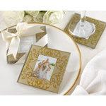 Golden Brocade Elegant Glass Photo Coasters
