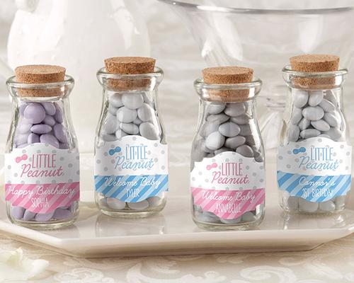 Personalized Milk Jar Little Peanut Pink Blue Set Of 12