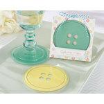 """Cute as a Button"" Glass Coasters"