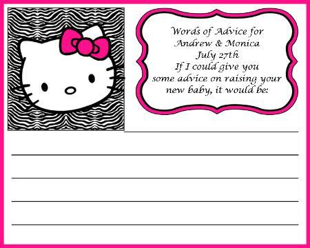 Hello Kitty Baby Shower Advice Cards