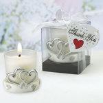 INTERLOCKING SILVER HEART CANDLES