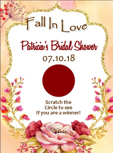 Fall In Love Bridal Shower Scratch Off Game