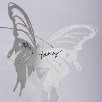 Butterflies Escort Card White Shimmer(Set of 50)