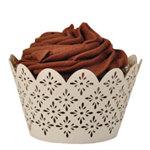 Fleur De Lis Cupcake Wrapper (50 Pack) Ivory
