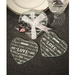Heart Design Glass Coaster Favors (set of 2)
