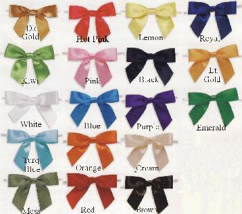 Satin Twist Tie Pre Tied Bows 18 Colors