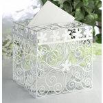 White Metal Swirls and Flowers Card Box