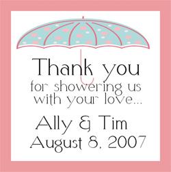 Umbrella Design Bridal Shower Square Label (Set of 20)